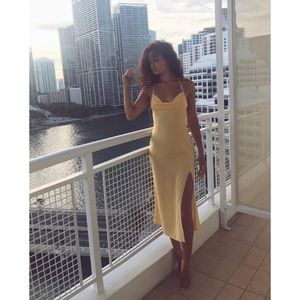 Reformation Silk Opal Dress in Lemon-New with Tags